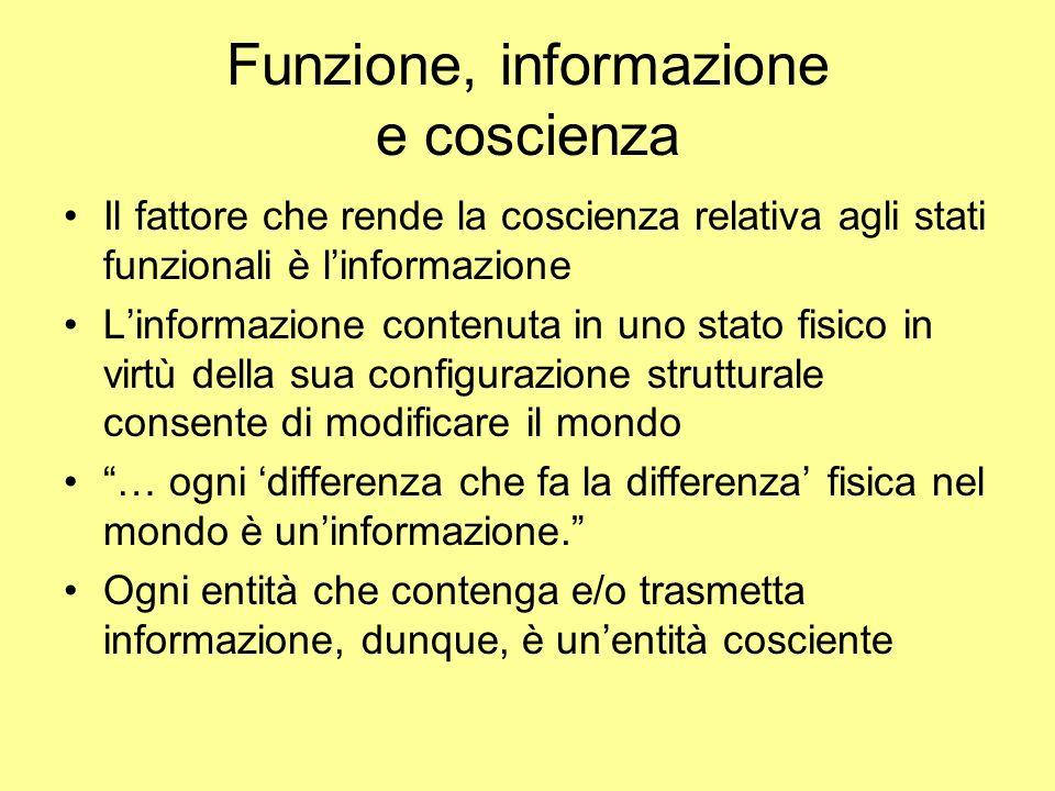 Funzione, informazione e coscienza