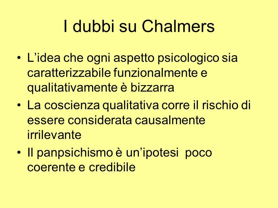 I dubbi su Chalmers L'idea che ogni aspetto psicologico sia caratterizzabile funzionalmente e qualitativamente è bizzarra.
