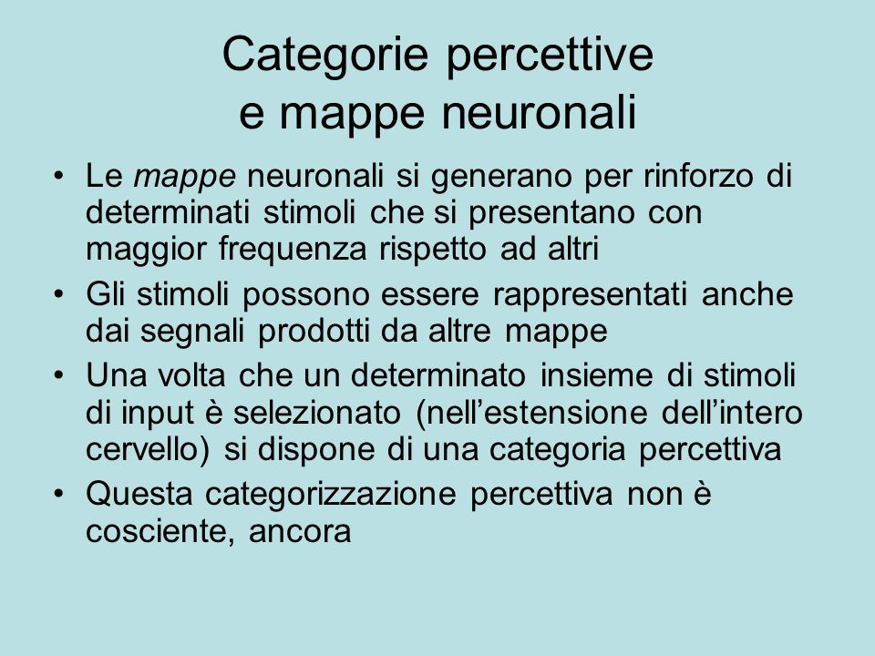 Categorie percettive e mappe neuronali