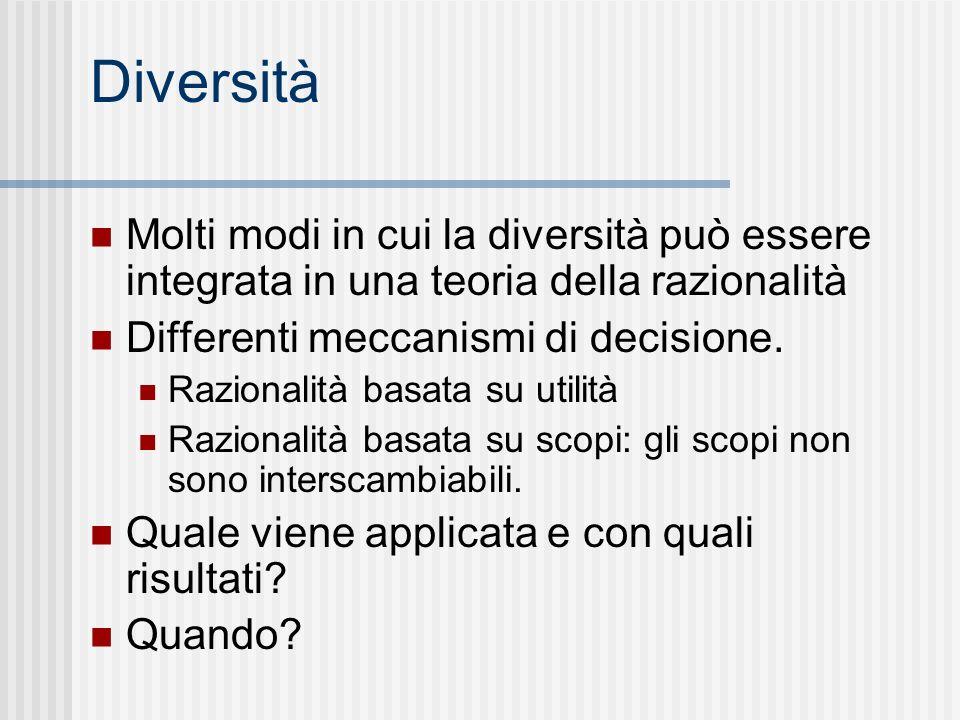 Diversità Molti modi in cui la diversità può essere integrata in una teoria della razionalità. Differenti meccanismi di decisione.