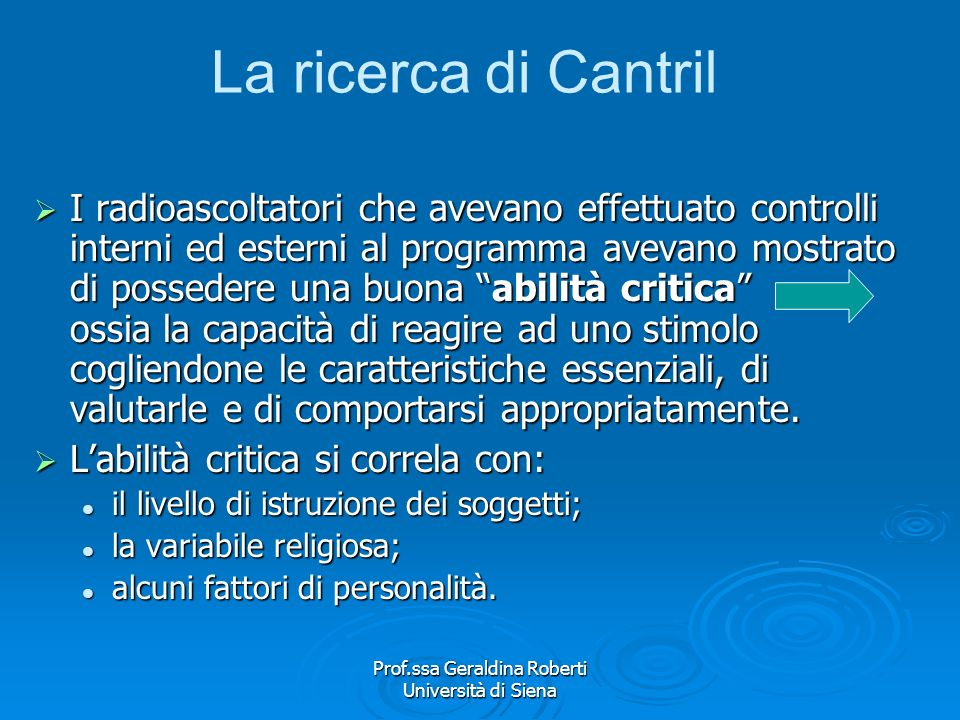 Prof.ssa Geraldina Roberti Università di Siena