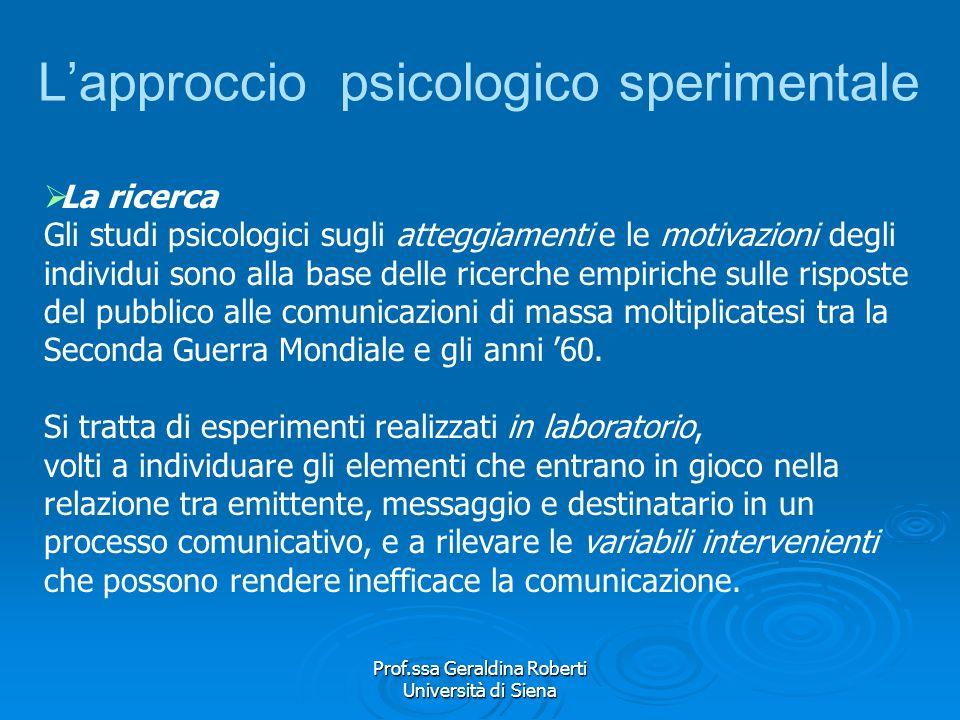 L'approccio psicologico sperimentale