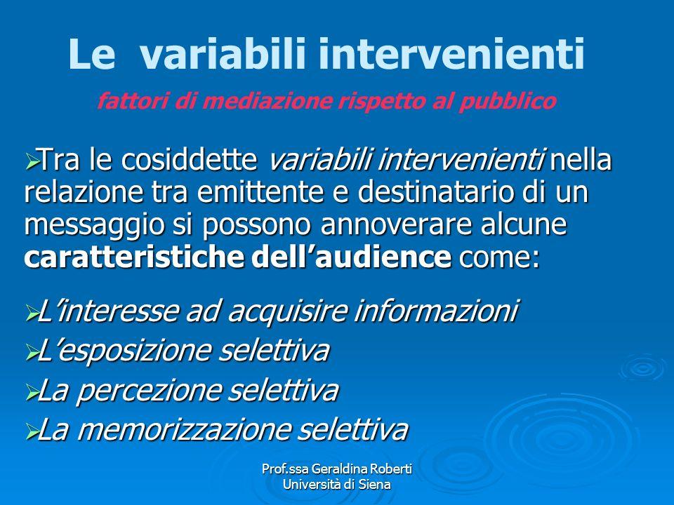 Le variabili intervenienti fattori di mediazione rispetto al pubblico