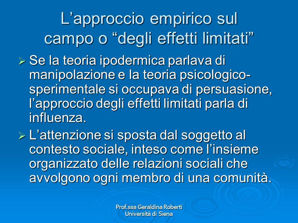 L'approccio empirico sul campo o degli effetti limitati