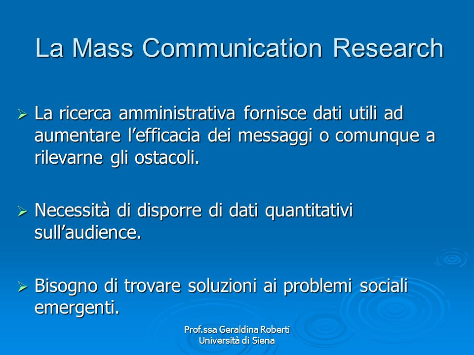 La Mass Communication Research