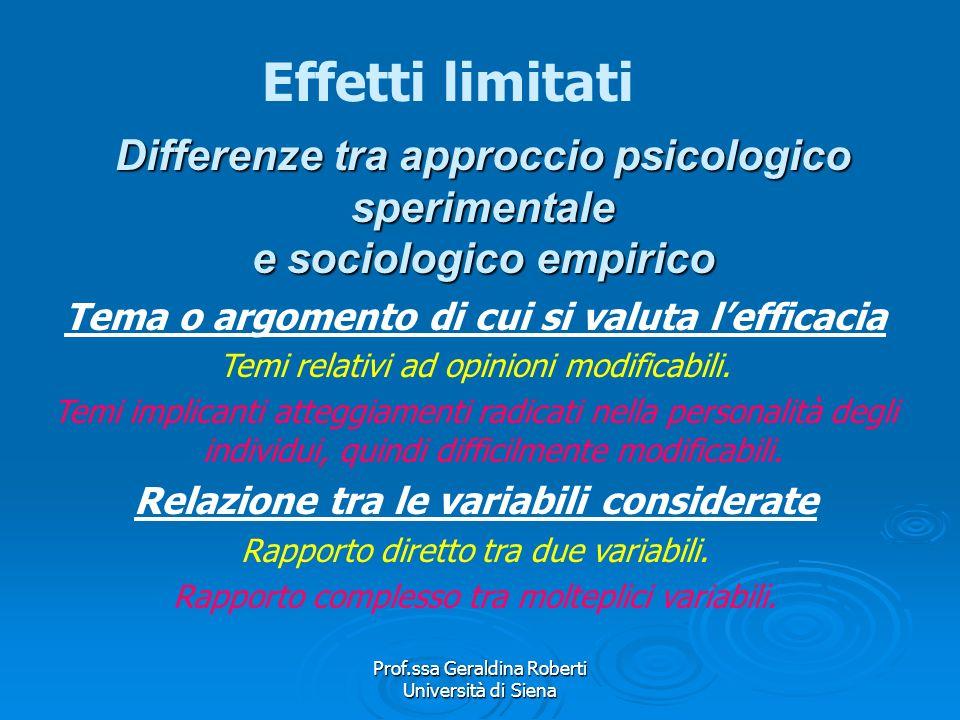 Effetti limitati Differenze tra approccio psicologico sperimentale e sociologico empirico. Tema o argomento di cui si valuta l'efficacia.