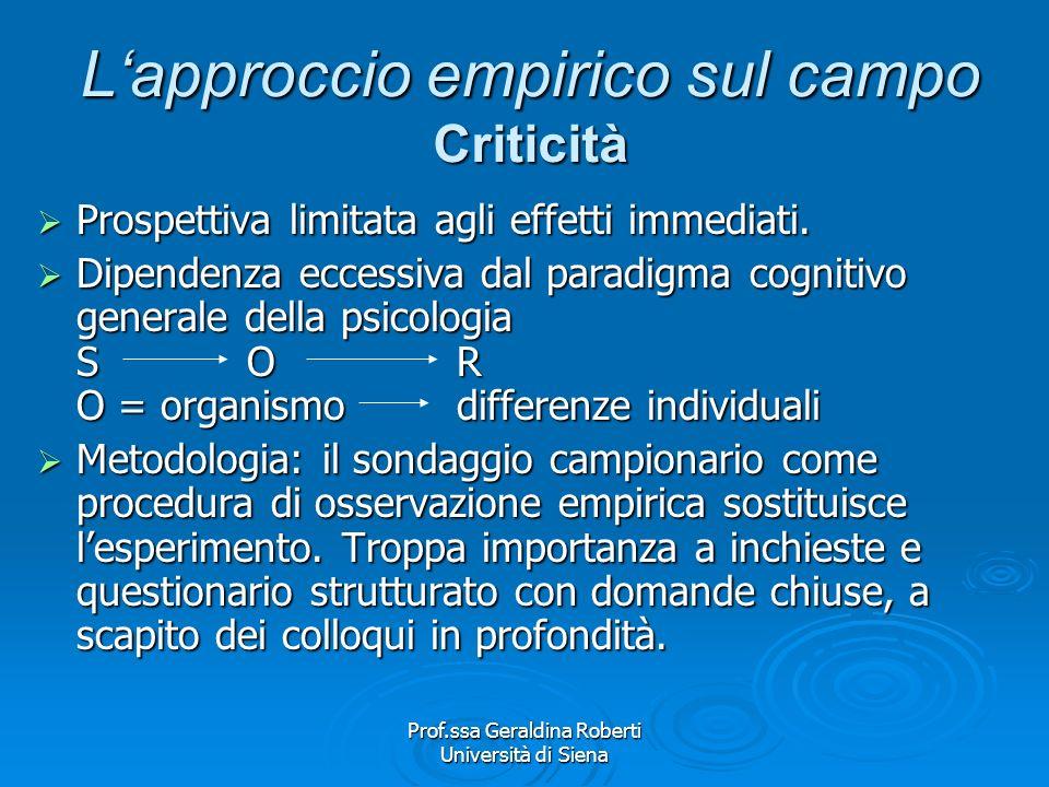 L'approccio empirico sul campo Criticità