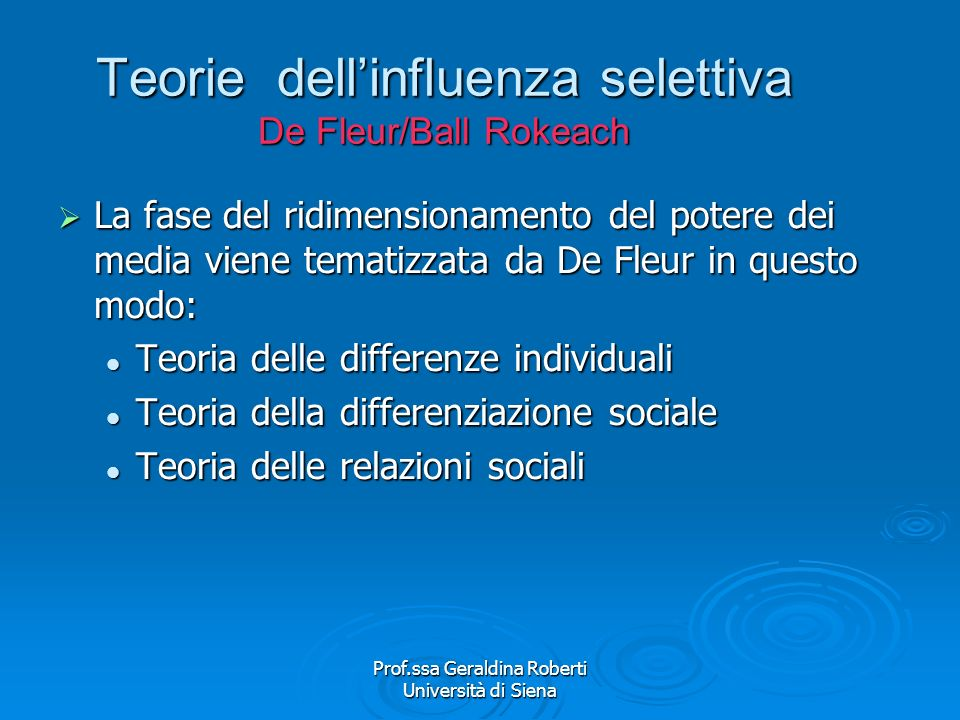 Teorie dell'influenza selettiva De Fleur/Ball Rokeach