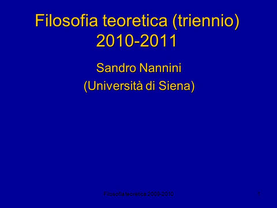 Filosofia teoretica (triennio) 2010-2011