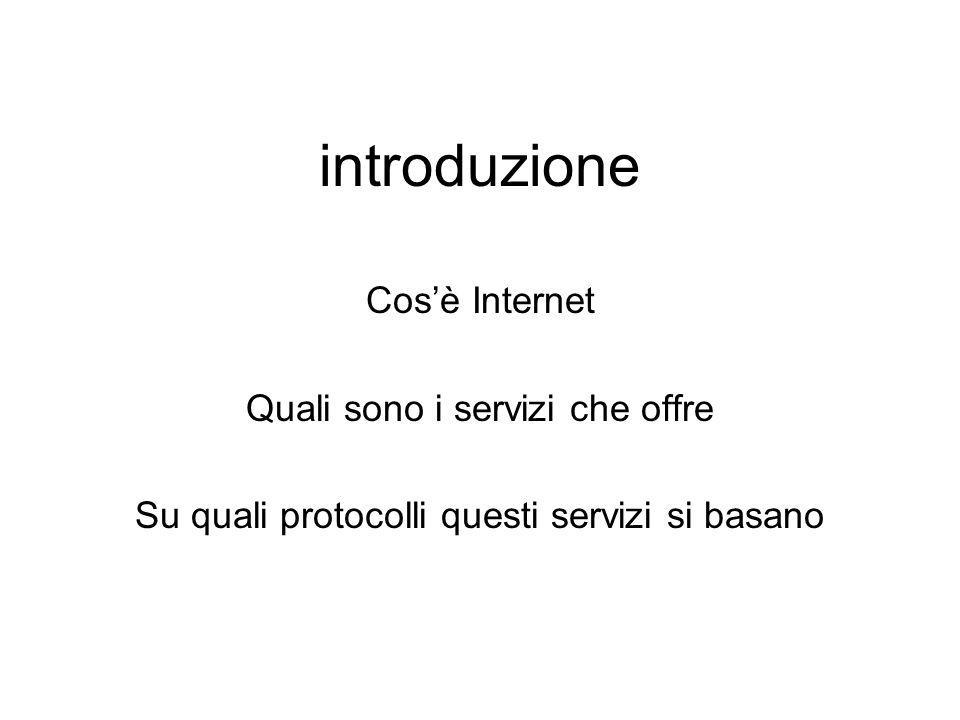 introduzione Cos'è Internet Quali sono i servizi che offre