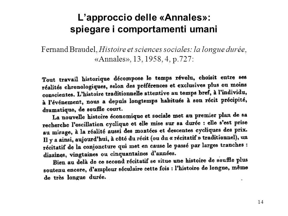 L'approccio delle «Annales»: spiegare i comportamenti umani Fernand Braudel, Histoire et sciences sociales: la longue durée, «Annales», 13, 1958, 4, p.727: