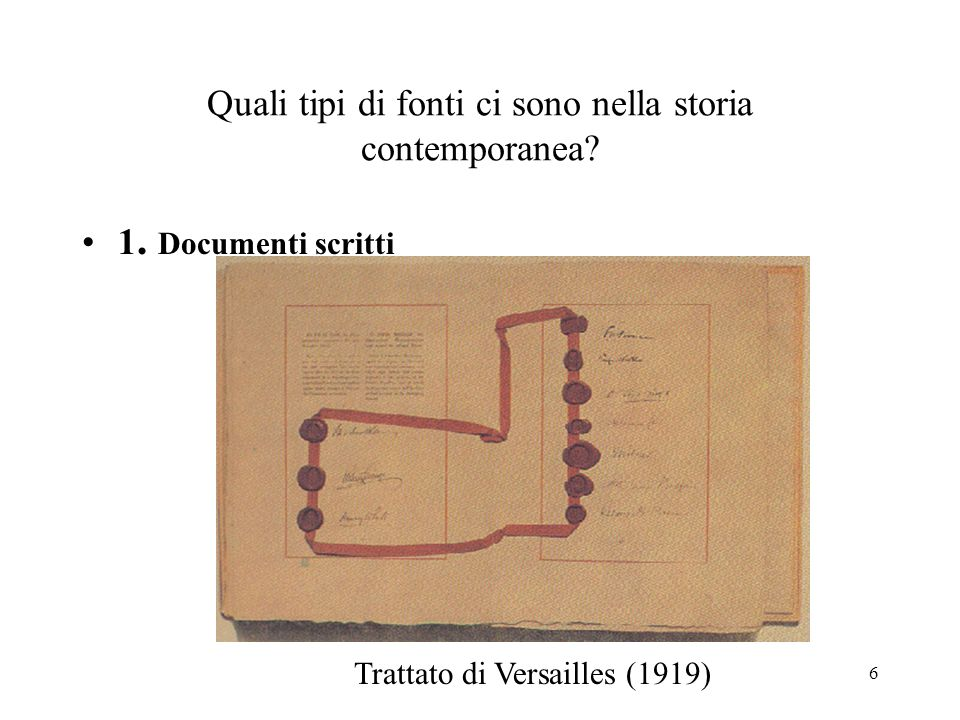 Quali tipi di fonti ci sono nella storia contemporanea