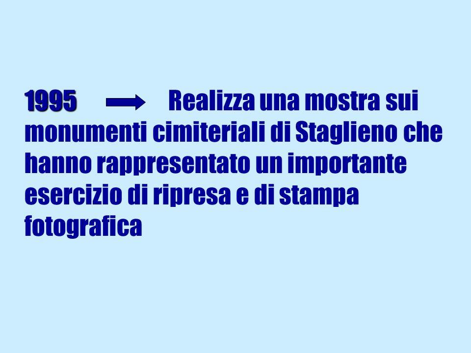 1995 Realizza una mostra sui monumenti cimiteriali di Staglieno che hanno rappresentato un importante esercizio di ripresa e di stampa fotografica