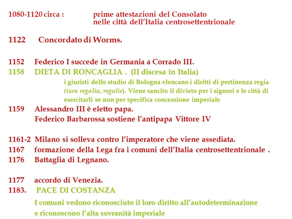 1080-1120 circa : prime attestazioni del Consolato