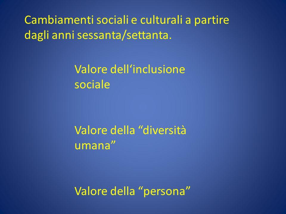 Cambiamenti sociali e culturali a partire dagli anni sessanta/settanta.