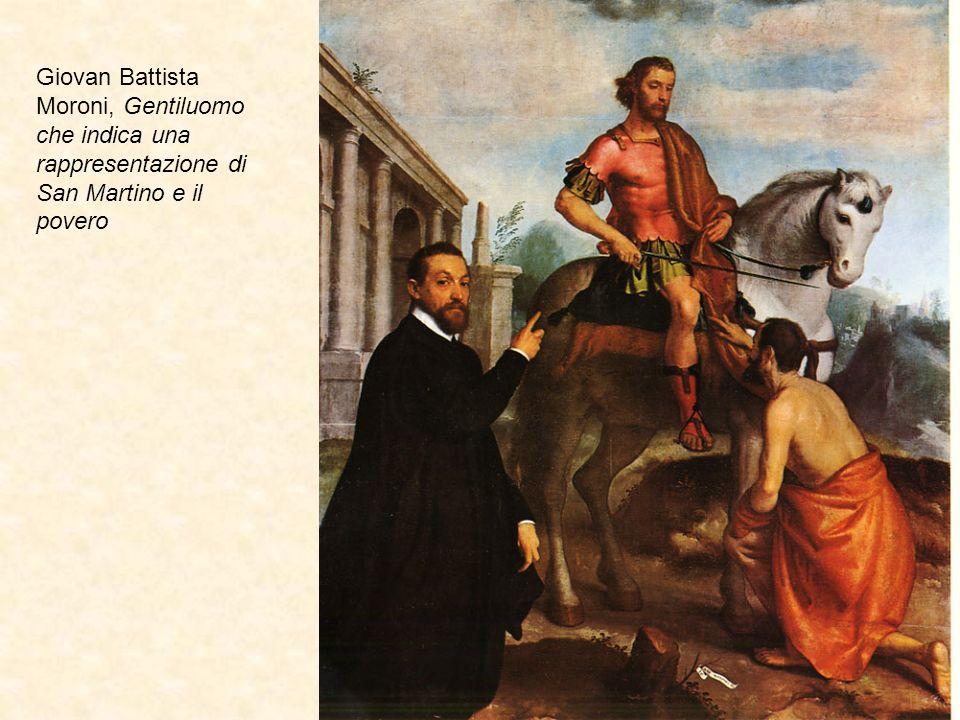 Giovan Battista Moroni, Gentiluomo che indica una rappresentazione di San Martino e il povero