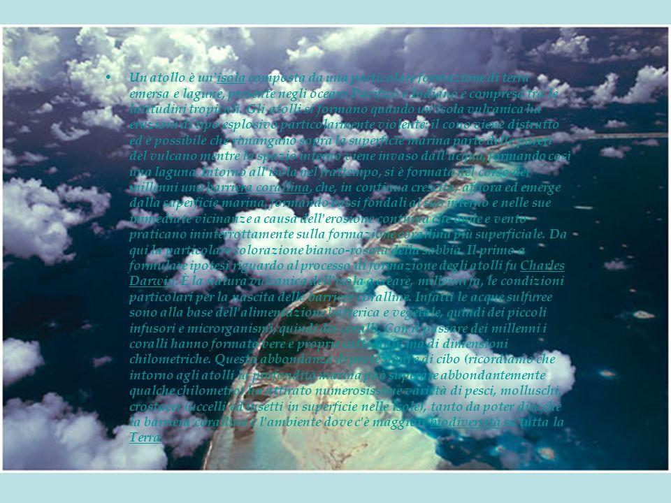 Un atollo è un isola composta da una particolare formazione di terra emersa e lagune, presente negli oceani Pacifico e Indiano e compresa tra le latitudini tropicali.