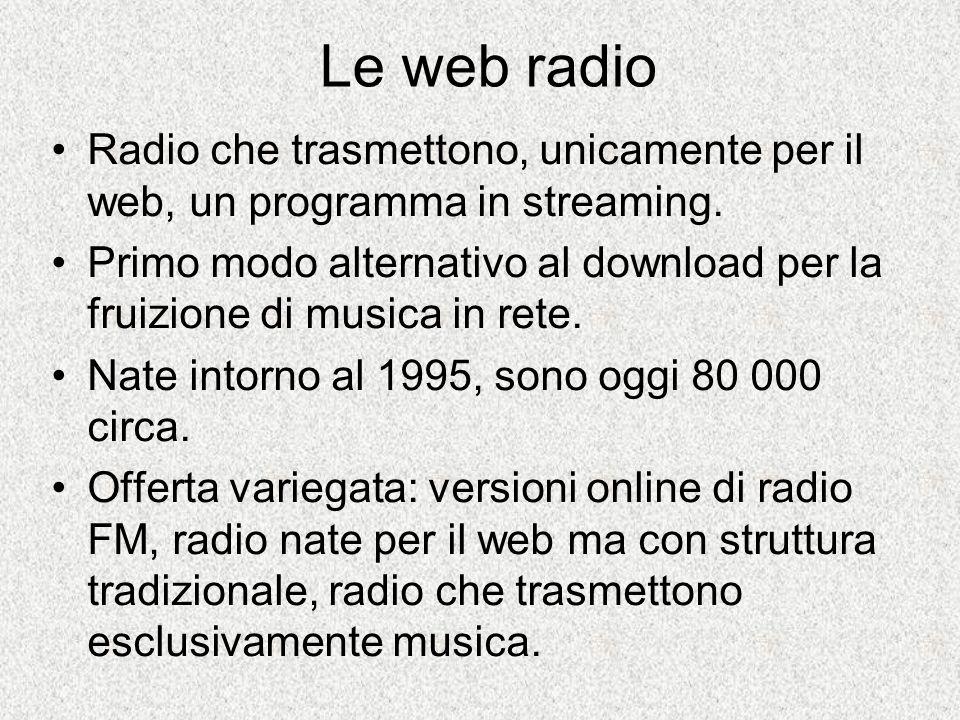 Le web radio Radio che trasmettono, unicamente per il web, un programma in streaming.