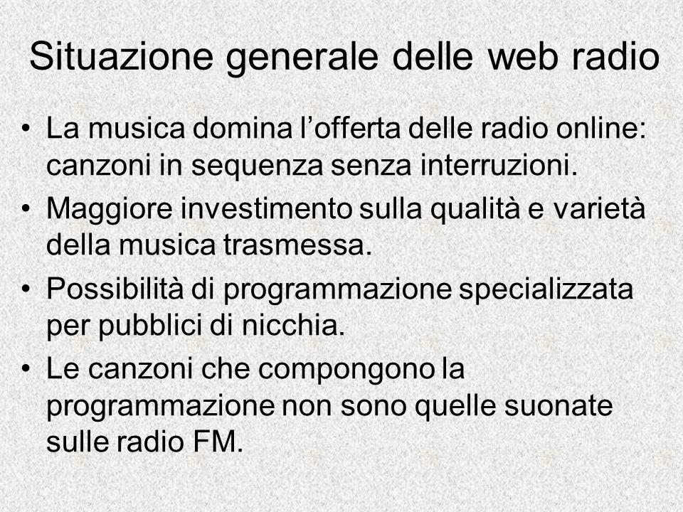 Situazione generale delle web radio
