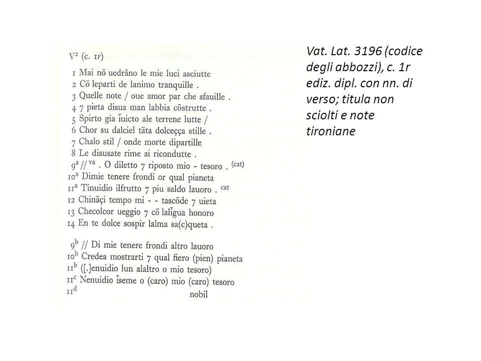 Vat. Lat. 3196 (codice degli abbozzi), c. 1r ediz. dipl. con nn