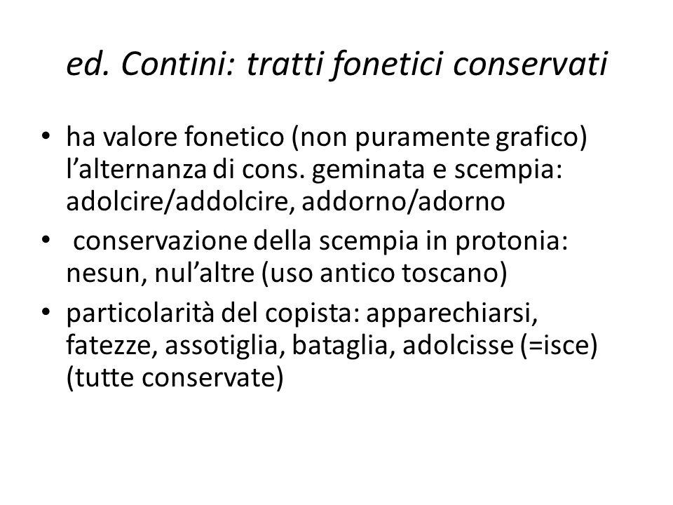 ed. Contini: tratti fonetici conservati