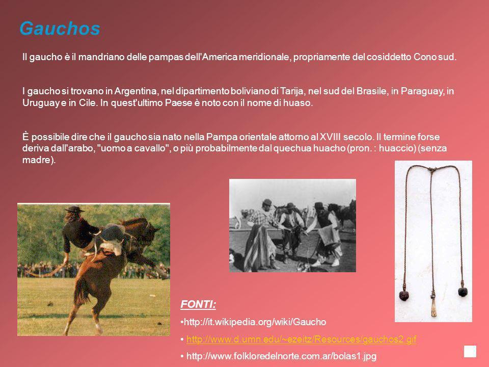 Gauchos Il gaucho è il mandriano delle pampas dell America meridionale, propriamente del cosiddetto Cono sud.
