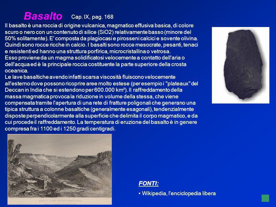 Basalto FONTI: Cap. IX, pag. 168