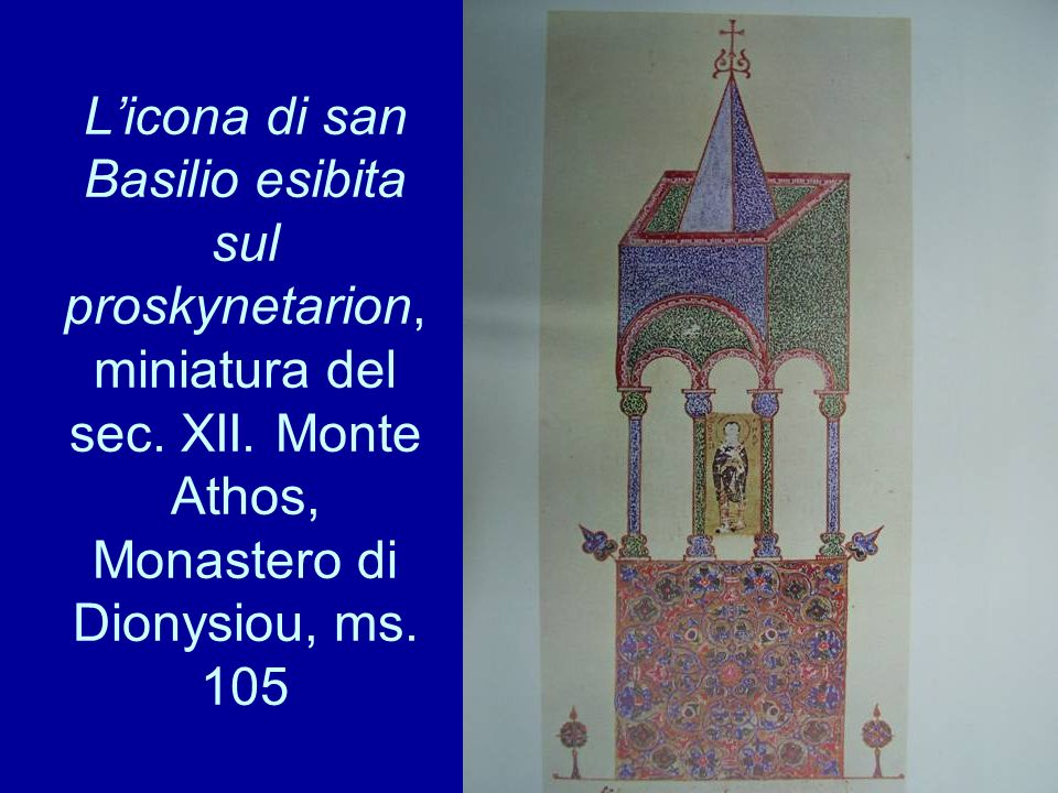 L'icona di san Basilio esibita sul proskynetarion, miniatura del sec