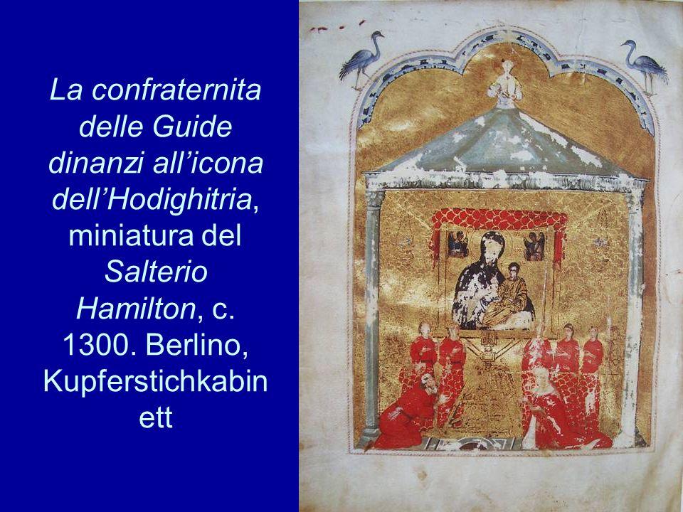 La confraternita delle Guide dinanzi all'icona dell'Hodighitria, miniatura del Salterio Hamilton, c.
