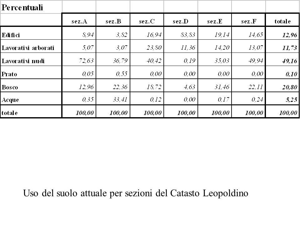 Uso del suolo attuale per sezioni del Catasto Leopoldino