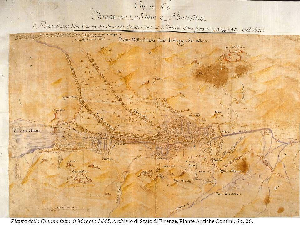 Pianta della Chiana fatta di Maggio 1645, Archivio di Stato di Firenze, Piante Antiche Confini, 6 c.