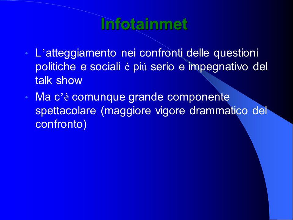 Infotainmet L'atteggiamento nei confronti delle questioni politiche e sociali è più serio e impegnativo del talk show.