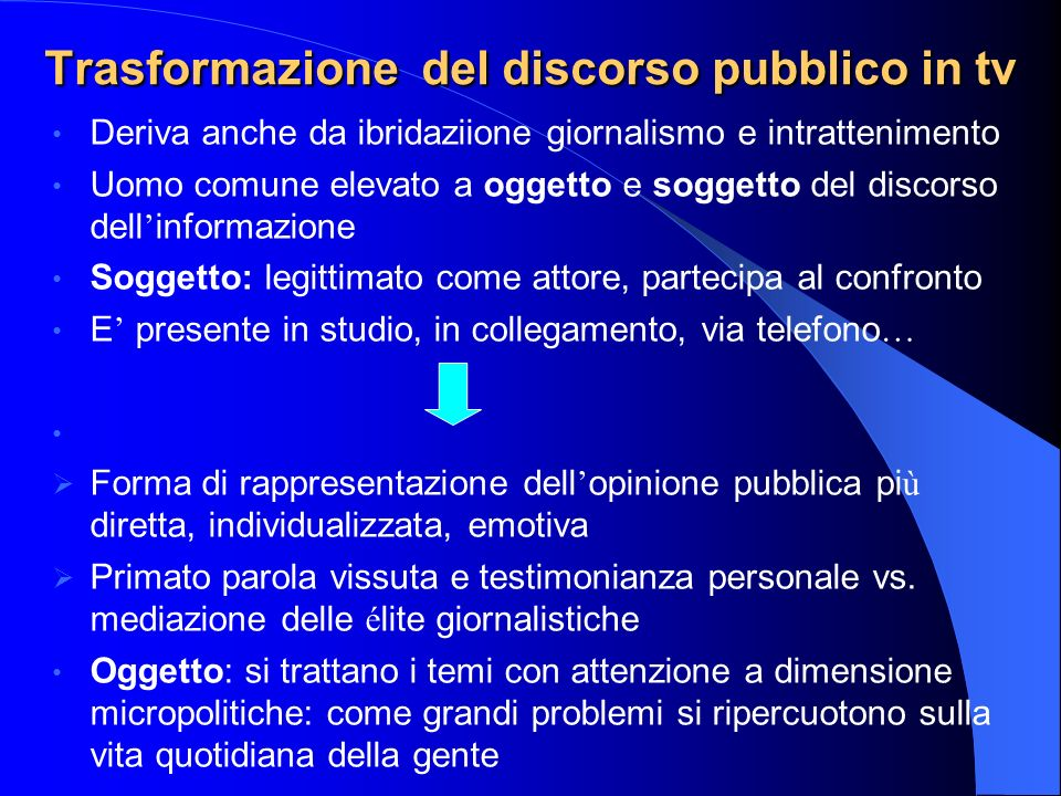 Trasformazione del discorso pubblico in tv