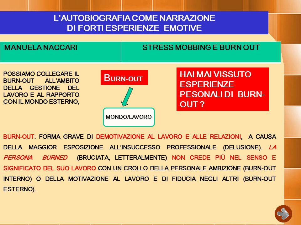 BURN-OUT L'AUTOBIOGRAFIA COME NARRAZIONE DI FORTI ESPERIENZE EMOTIVE