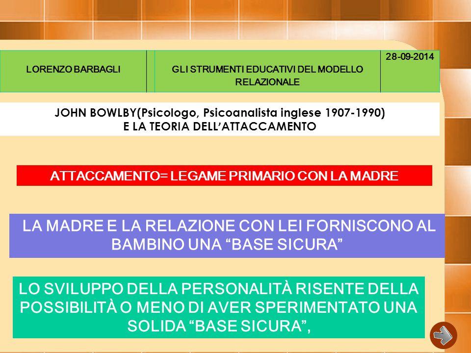 LORENZO BARBAGLI GLI STRUMENTI EDUCATIVI DEL MODELLO RELAZIONALE. 28-09-2014. JOHN BOWLBY(Psicologo, Psicoanalista inglese 1907-1990)