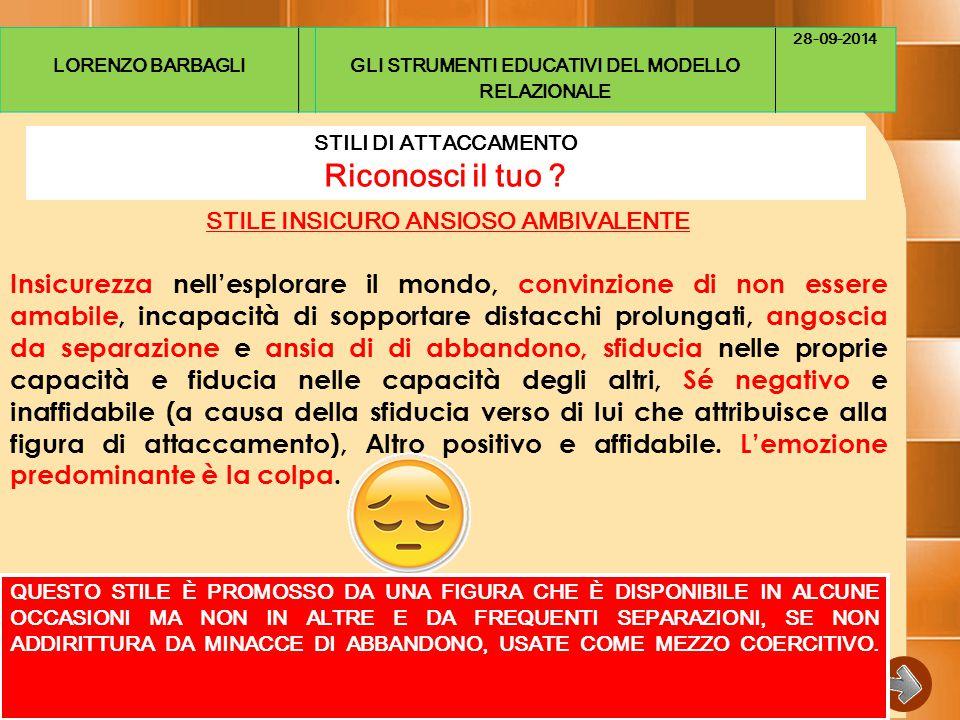 LORENZO BARBAGLI GLI STRUMENTI EDUCATIVI DEL MODELLO RELAZIONALE. 28-09-2014. STILI DI ATTACCAMENTO.