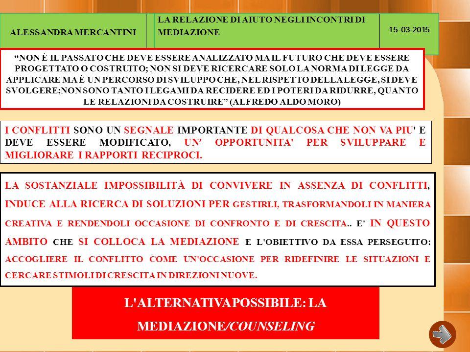 L ALTERNATIVA POSSIBILE: LA MEDIAZIONE/COUNSELING