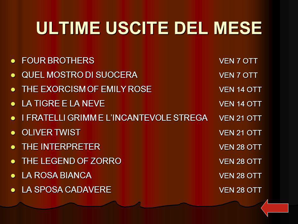 ULTIME USCITE DEL MESE FOUR BROTHERS VEN 7 OTT