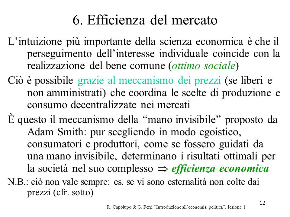 6. Efficienza del mercato