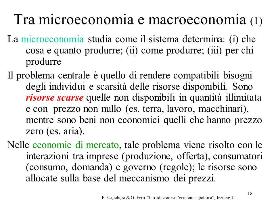 Tra microeconomia e macroeconomia (1)