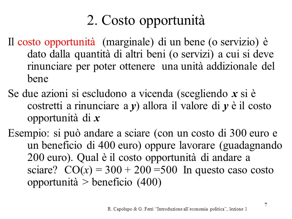 2. Costo opportunità