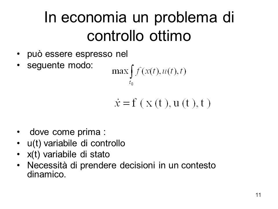 In economia un problema di controllo ottimo