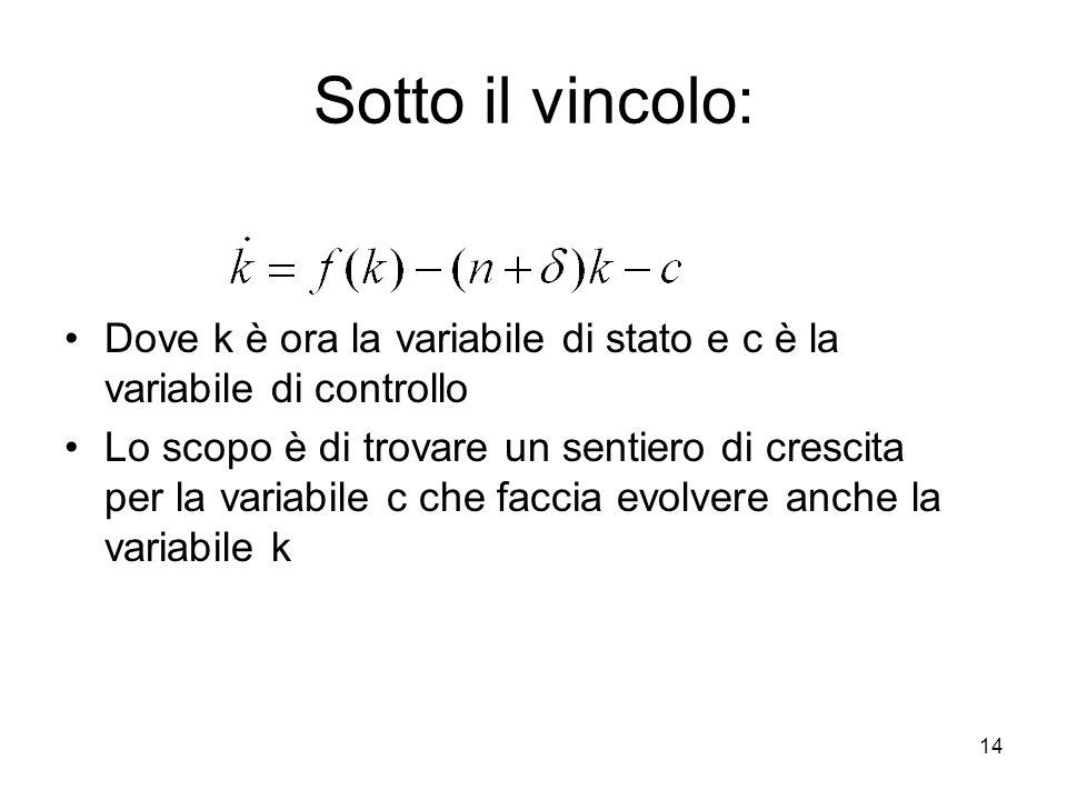 Sotto il vincolo:Dove k è ora la variabile di stato e c è la variabile di controllo.