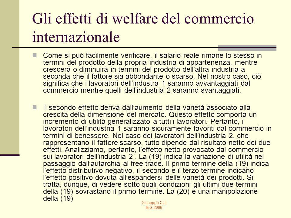 Gli effetti di welfare del commercio internazionale