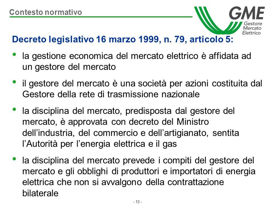 Decreto legislativo 16 marzo 1999, n. 79, articolo 5: