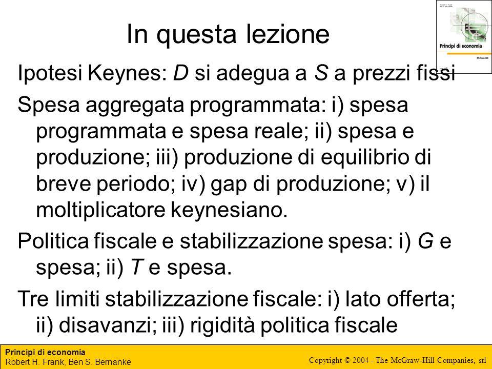 In questa lezione Ipotesi Keynes: D si adegua a S a prezzi fissi
