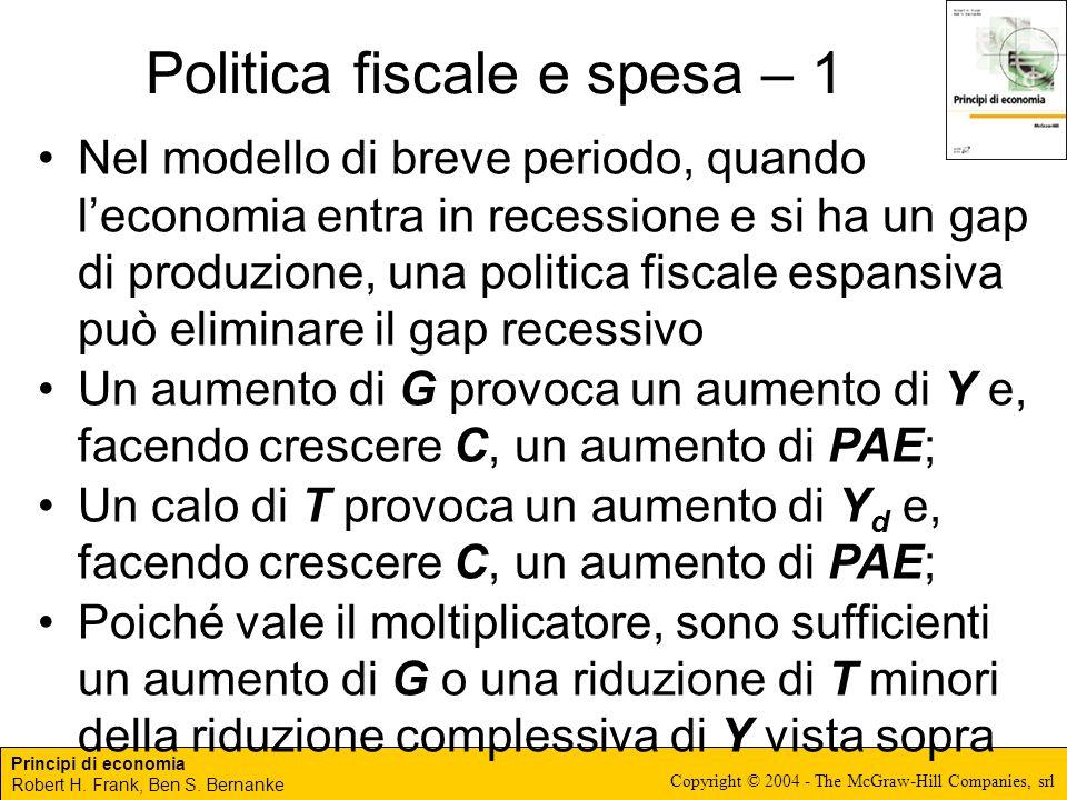 Politica fiscale e spesa – 1
