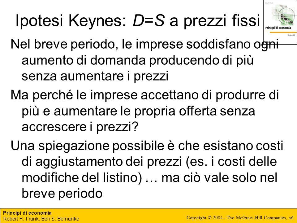 Ipotesi Keynes: D=S a prezzi fissi