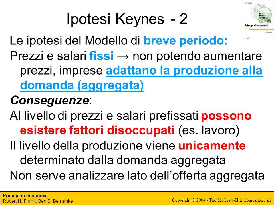 Ipotesi Keynes - 2 Le ipotesi del Modello di breve periodo: