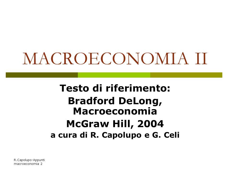 Bradford DeLong, Macroeconomia a cura di R. Capolupo e G. Celi